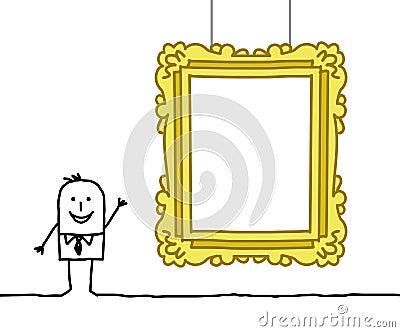 Man & blank museum frame