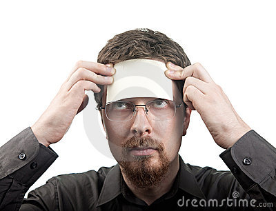 Man with blank note over his forehead