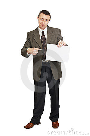 Man with a blank sheet of paper