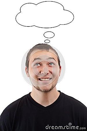 Man with blank speech bubble