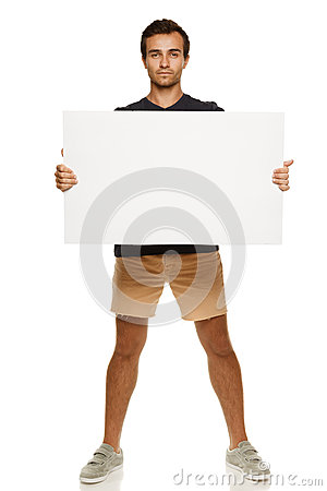 Man with blank whiteboard