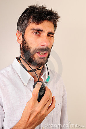 Man Blinking His Eyes and Playing with Mouse
