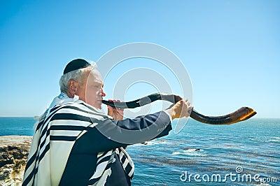 Man Blowing Shofar, High Holidays