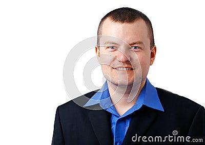Man in Blue Shirt.