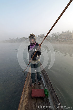 Man on a boat Editorial Stock Photo