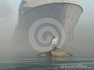 Man in boat looking on approaching vessel
