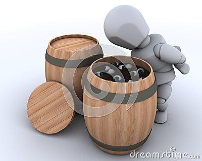 Man bobbing for eyeballs in a barrel