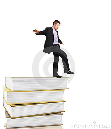 Man on book