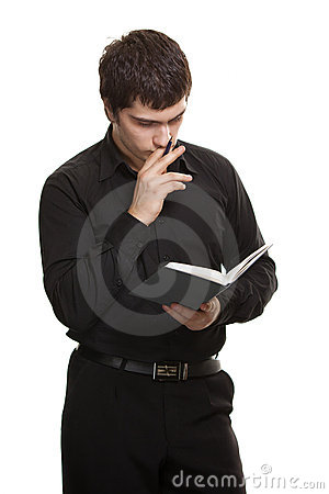 Man with book and pen isolated