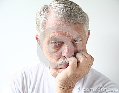 Man with bored expression