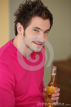 Man with bottle of beer