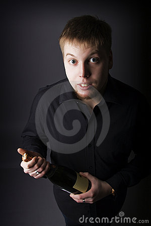 Man with a bottle of champagne