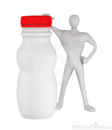 Man with bottle for yogurt