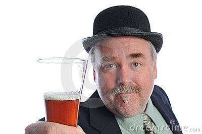 Man in bowler with glass of beer