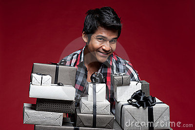 Man with boxes of presents