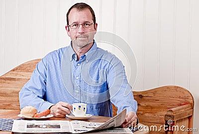 Man at breakfast table