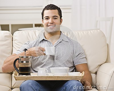 Man with Breakfast Tray and Coffee