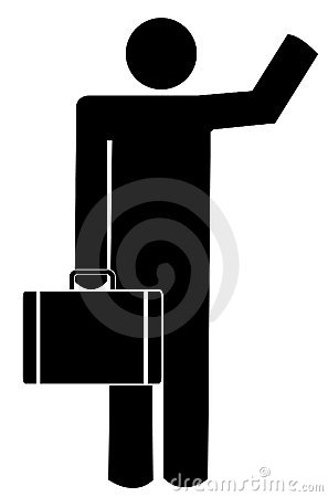 Man with briefcase waving