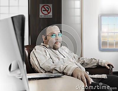 Man with broken head