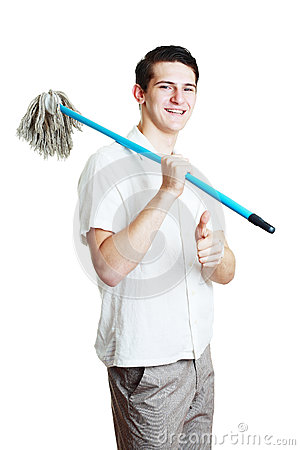 Man with broom