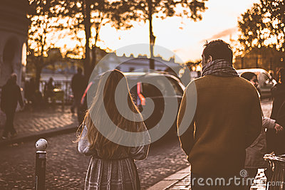 Man In Brown Jacket Beside Woman In Grey Jacket During Sunset Free Public Domain Cc0 Image