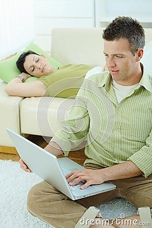 Man browsing internet