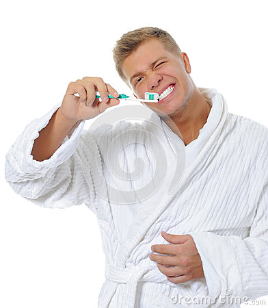 Man Brushing His Teeth Stock Photography - Image: 24695362