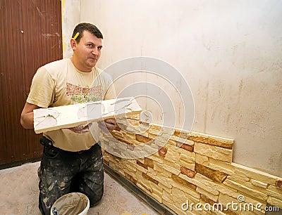 Man building internal wall