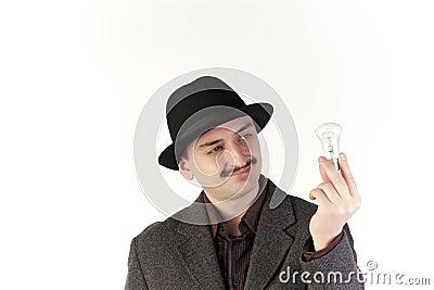 Man with a bulb