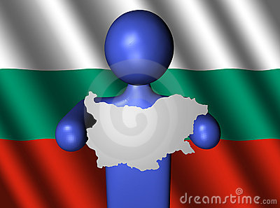Man with bulgaria map on flag