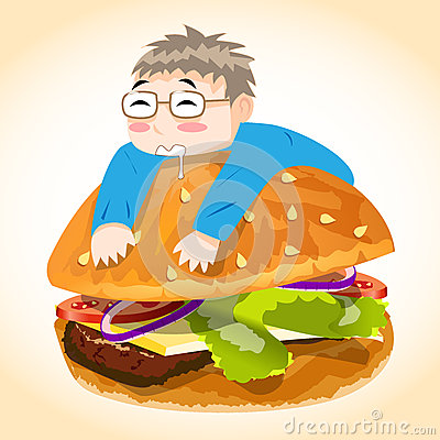 Man on Burger Vector Character