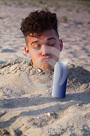 Free Man Buried In The Sand Royalty Free Stock Image - 28526426