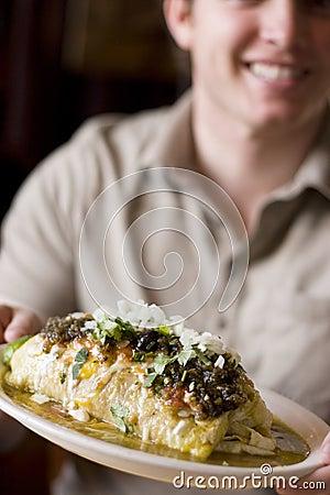 Man with burrito