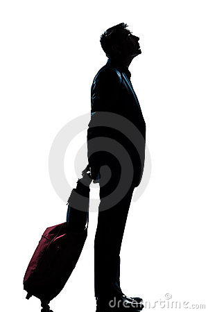 Free Man Business Traveler Waiting Looking Up Stock Photography - 21379362