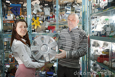 Man buys automotive wheel covers