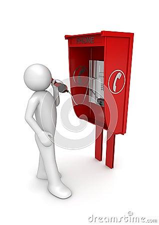Man in call box