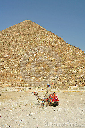 Man on camel near pyramids