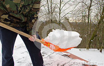 Man Camouflage Shovel Tool Clean Snow Roof Winter Royalty