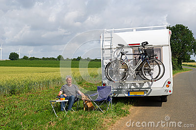 Man with camper in landscape