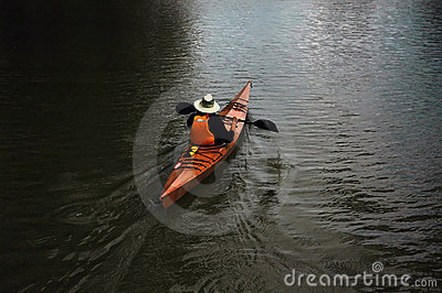 Man canoing on the lake