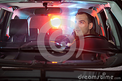 Man in car caught by police