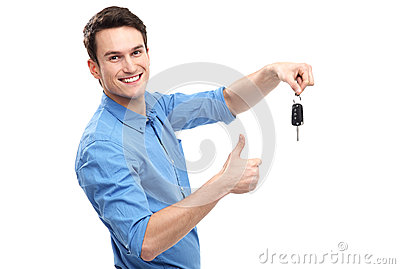 Man with Car Keys and Thumbs Up