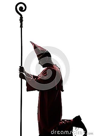Man cardinal bishop silhouette