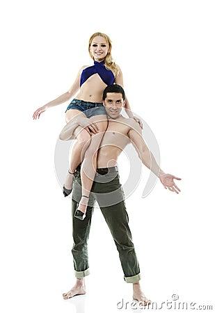 Man carries on his shoulders