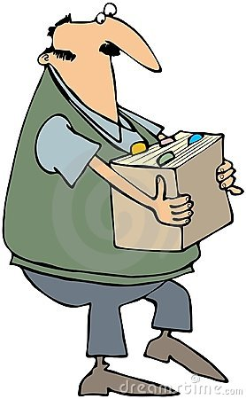 Man Carrying A Box Of Files