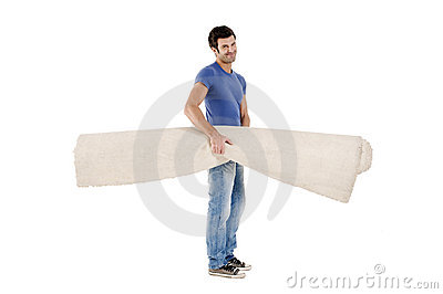 Man carrying a carpet