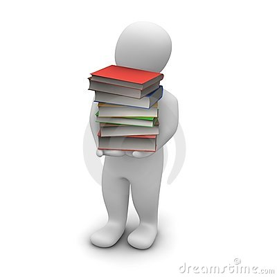 Man carrying high stack of books