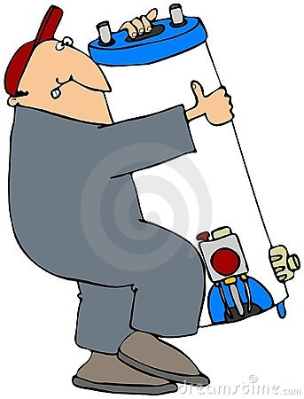 Man Carrying A Water Heater