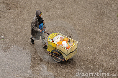 Man with cart in Fez, Morocco Editorial Stock Image