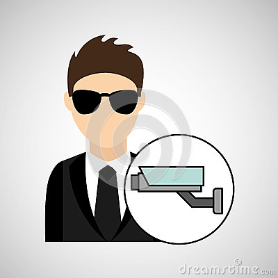 Free Man Cartoon Digital Technology Security Surveillance Camera Royalty Free Stock Photo - 80968355
